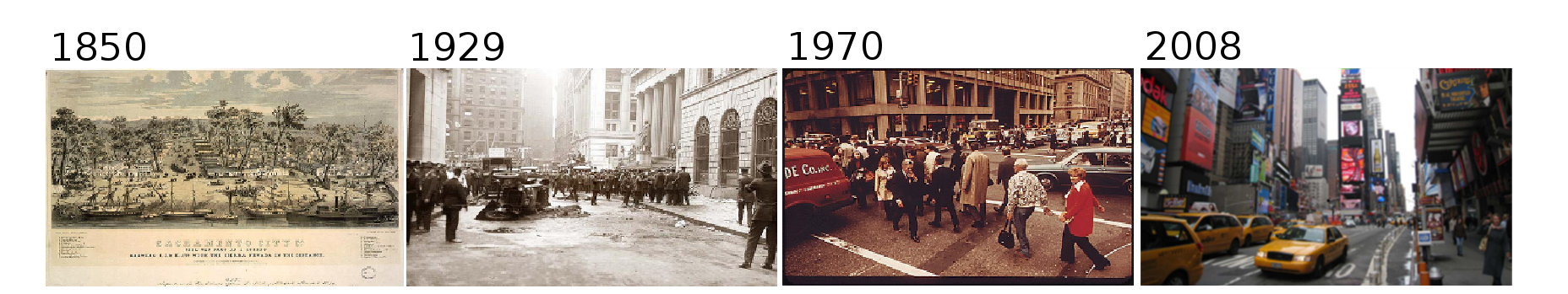 Views of New York in 1850, 1929, 1970 and 2008