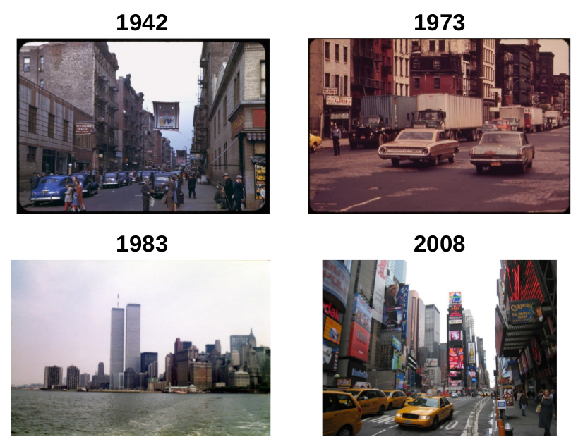 Photos of New York taken in 1942, 1973, 1983 and 2008